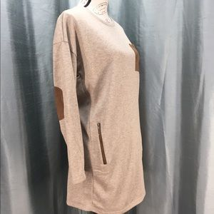 She + Sky tan marbled tunic dress with faux suede